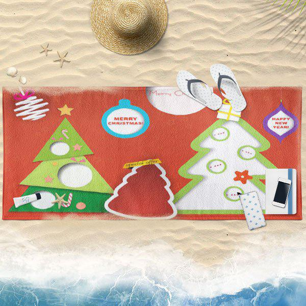 Cartoon Christmas Tree Printed Bath Towel - RED 75CM*150CM