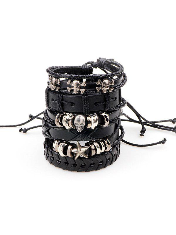 Metal Skull Star Faux Leather Punk Bracelets - BLACK