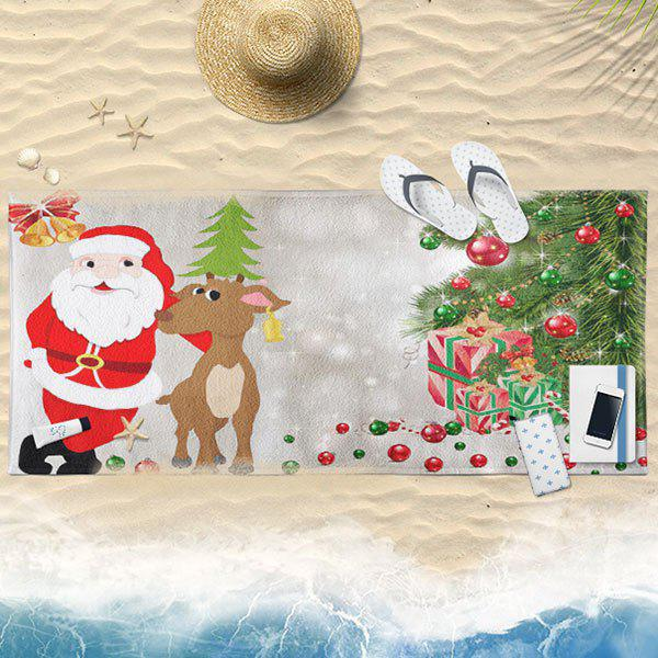 Christmas Tree Elk Santa Claus Bath Towel - GRAY 75CM*150CM