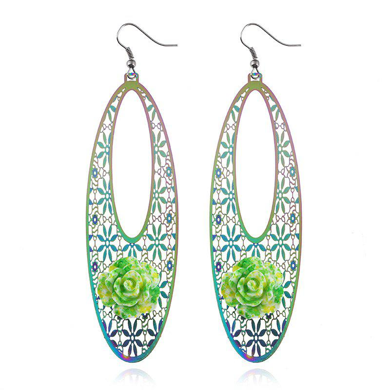 Alloy Oval Flower Engraved Hook Earrings - COLORMIX