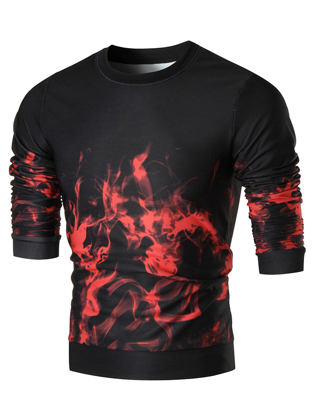 Flame Print Slim Fit Crew Neck Sweatshirt - COLORMIX L