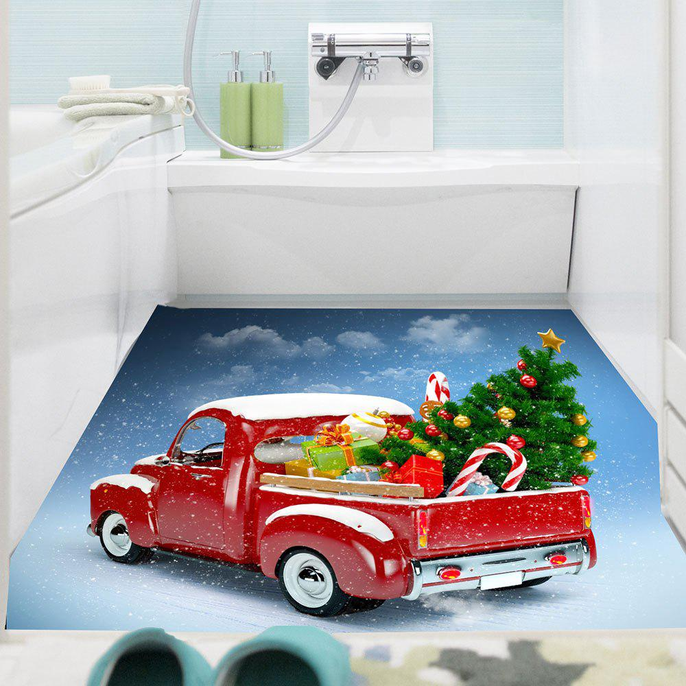 Christmas Car Pattern Removable Wall Sticker - COLORFUL 1PC:24*47 INCH( NO FRAME )