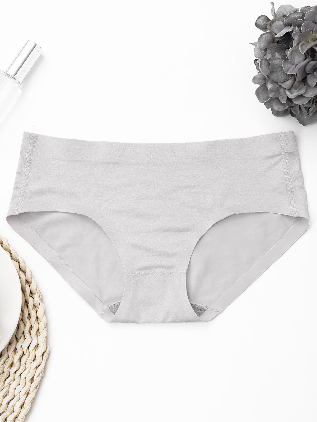 Seamless Mid Waist Panties - GRAY ONE SIZE