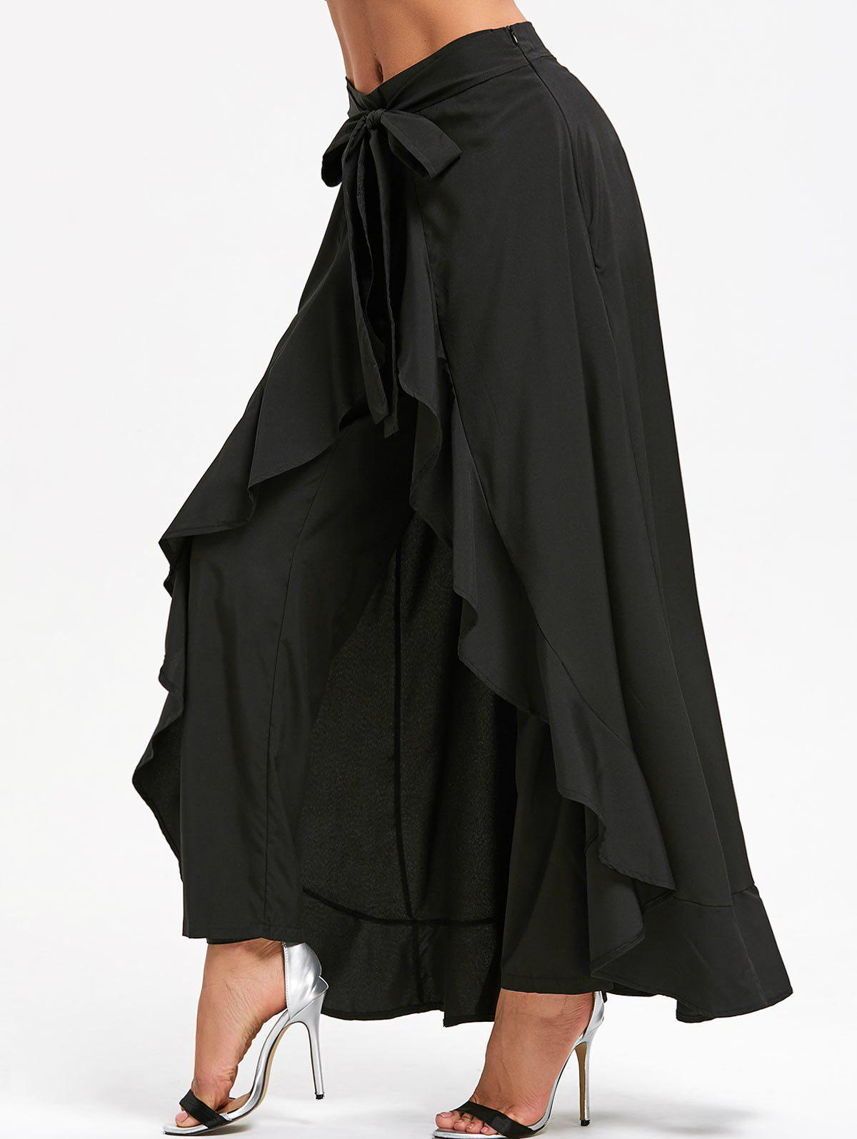 Tie Front Ruffle Skirted Pants - BLACK M