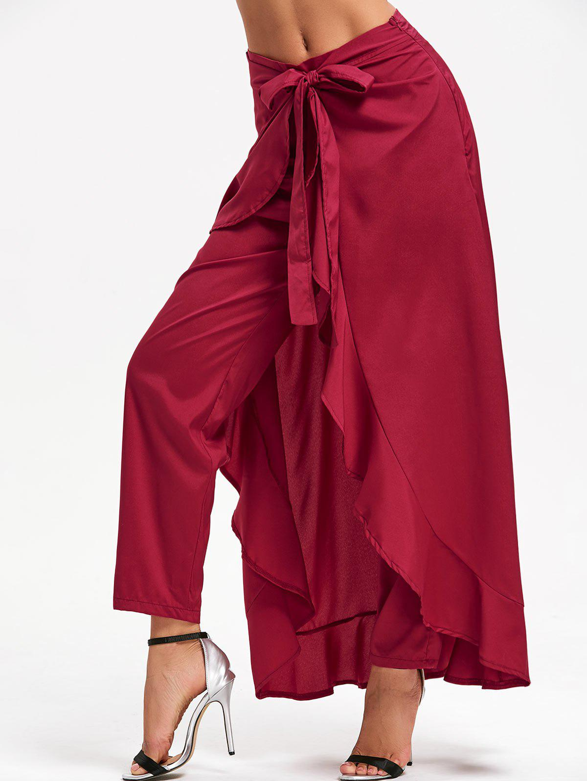 Tie Front Ruffle Skirted Pants - WINE RED S