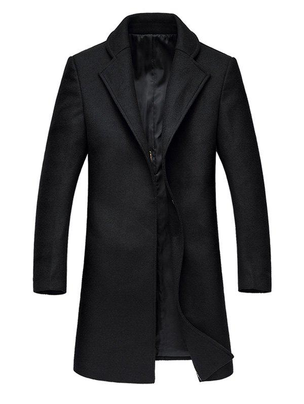 Lapel Collar Hook Button Wool Blend Coat - BLACK 2XL