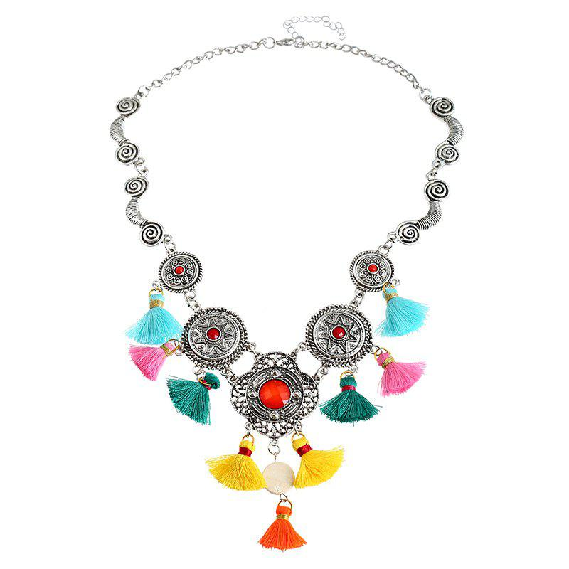Bohemian Faux Gem Tassel Round Necklace - COLORMIX
