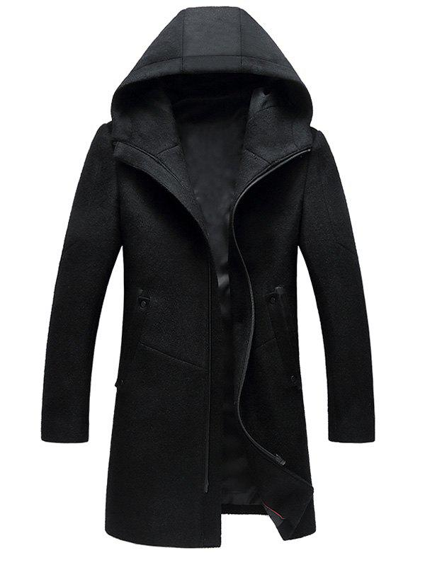 Zipper Up Wool Blend Hooded Coat - BLACK 3XL