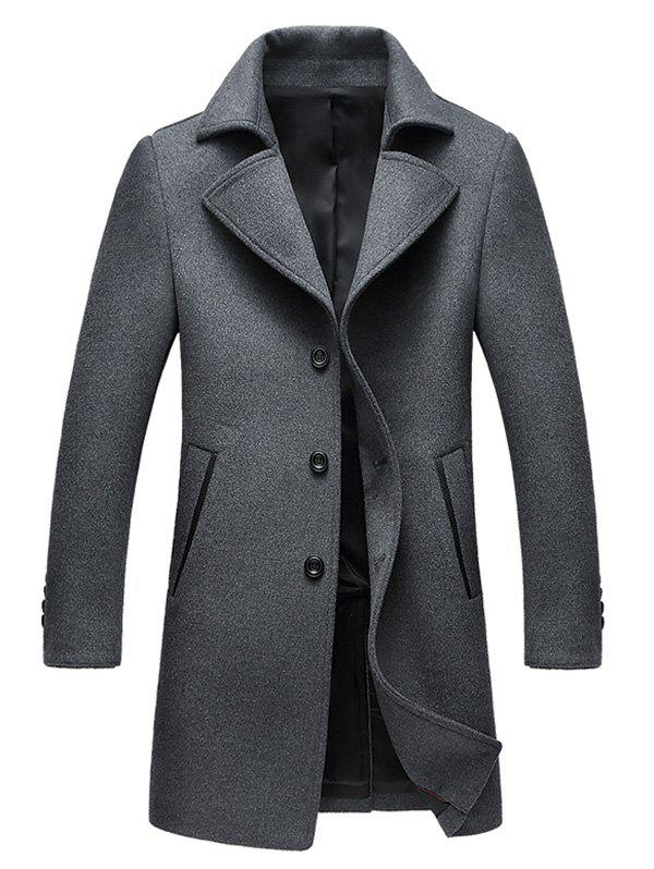 Wool Blend Single Breasted Notched Collar Coat - GRAY M