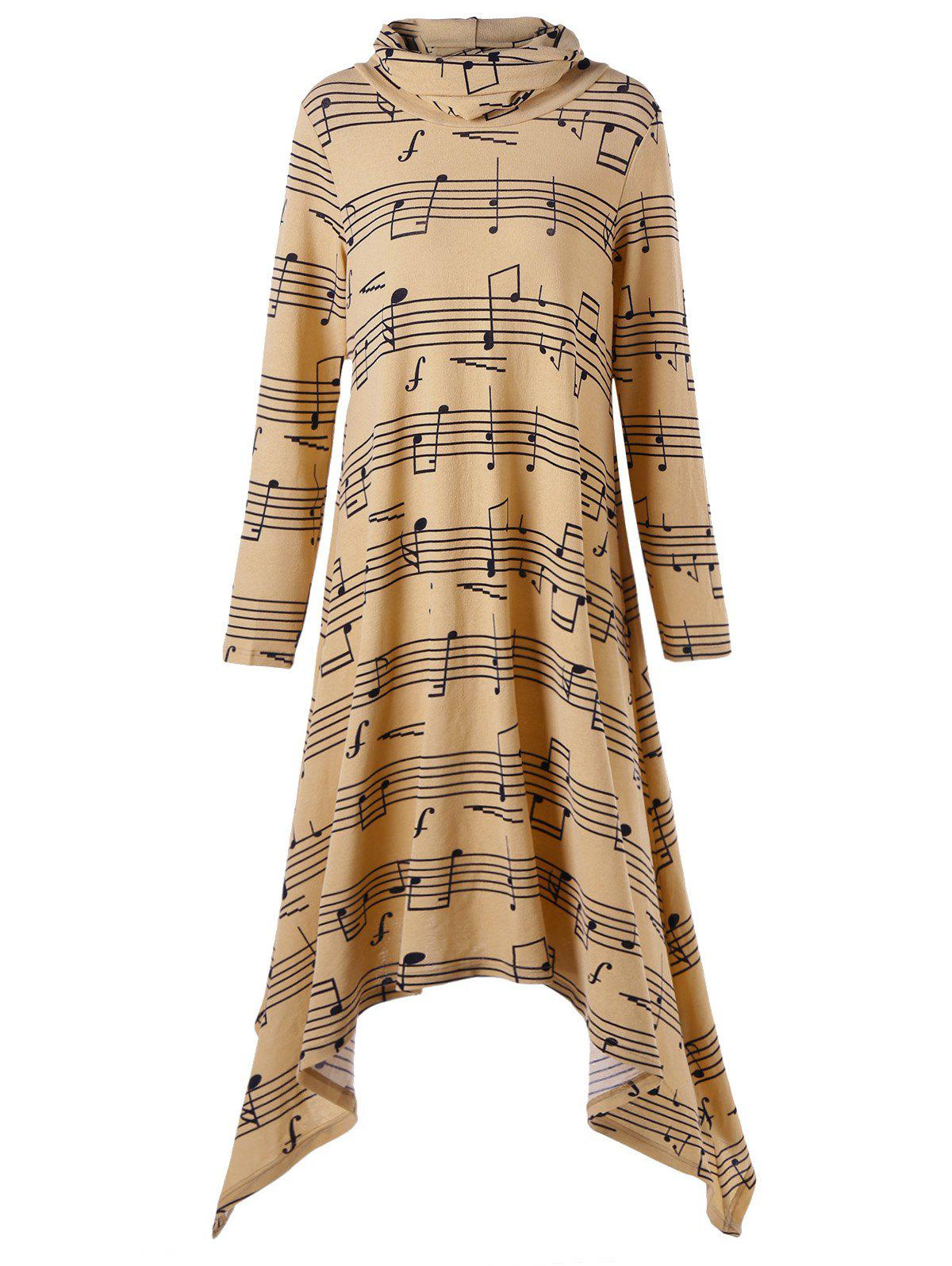 Turtle Neck Music Note Print Handkerchief Dress music note party swing dress