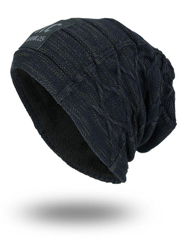 Letters Label Thicken Double-Deck Knit Hat - STONE BLUE