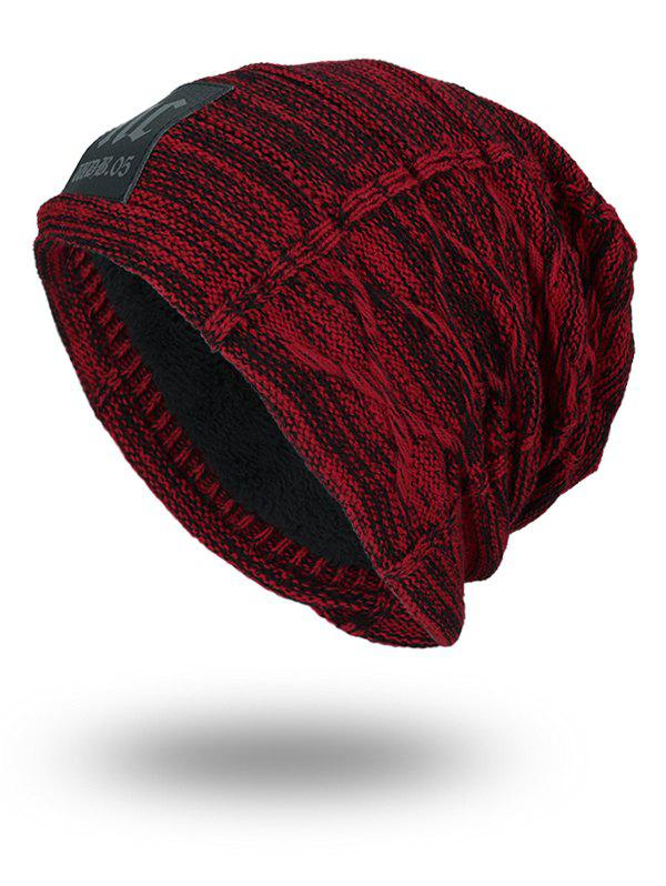 Letters Label Thicken Double-Deck Knit Hat - WINE RED