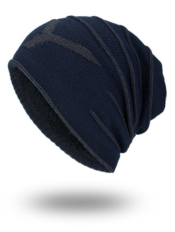 NY Double-Deck Thicken Knit Hat - PURPLISH BLUE