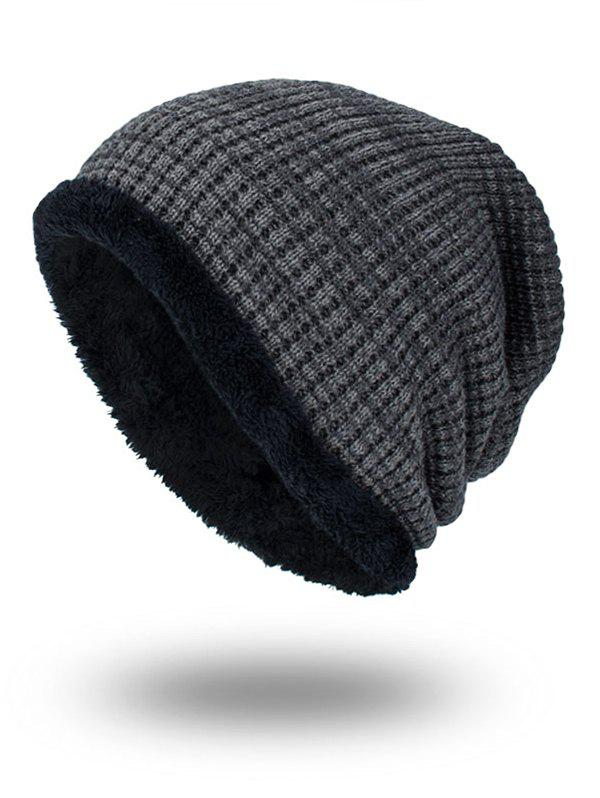 Double-Deck Thicken Warm Knit Hat - GRAY