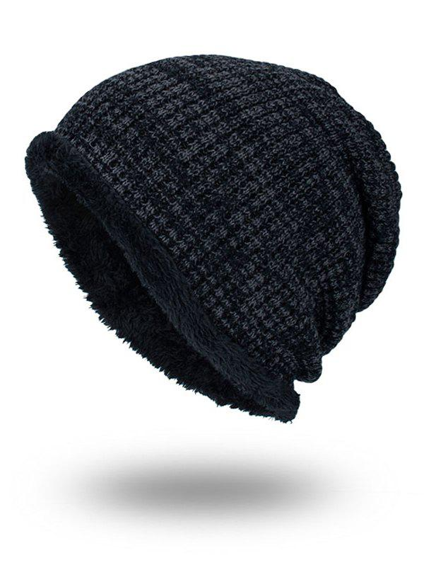 Double-Deck Thicken Warm Knit Hat - BLACK