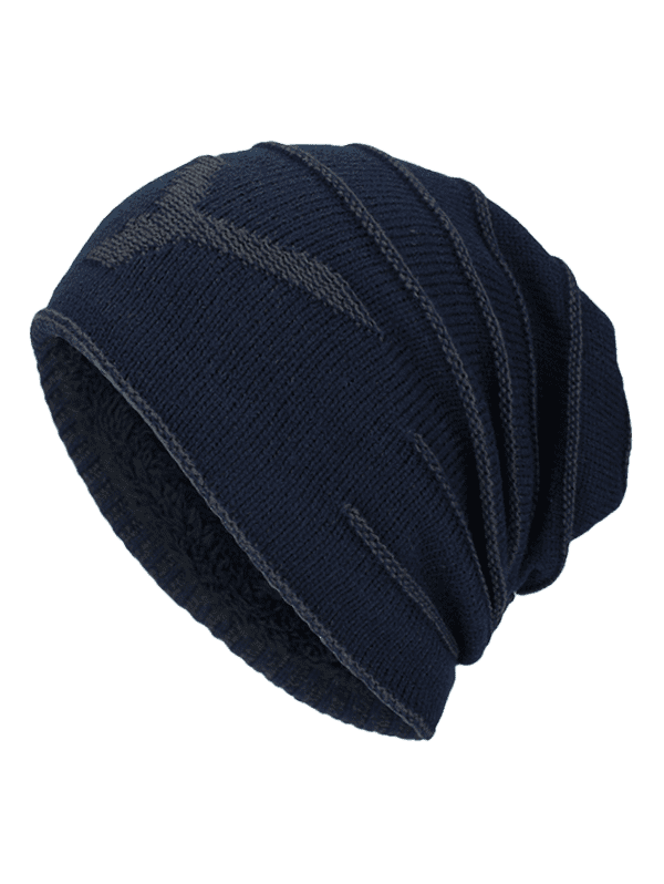 NY Double-Deck Thicken Knit Hat - Bleu Violet