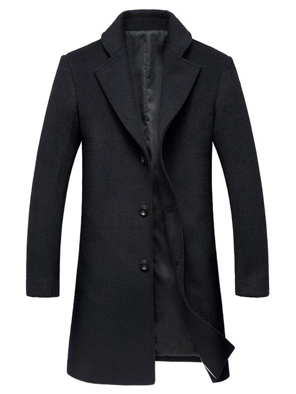 Lapel Collar Single Breasted Wool Mix Coat - BLACK 3XL