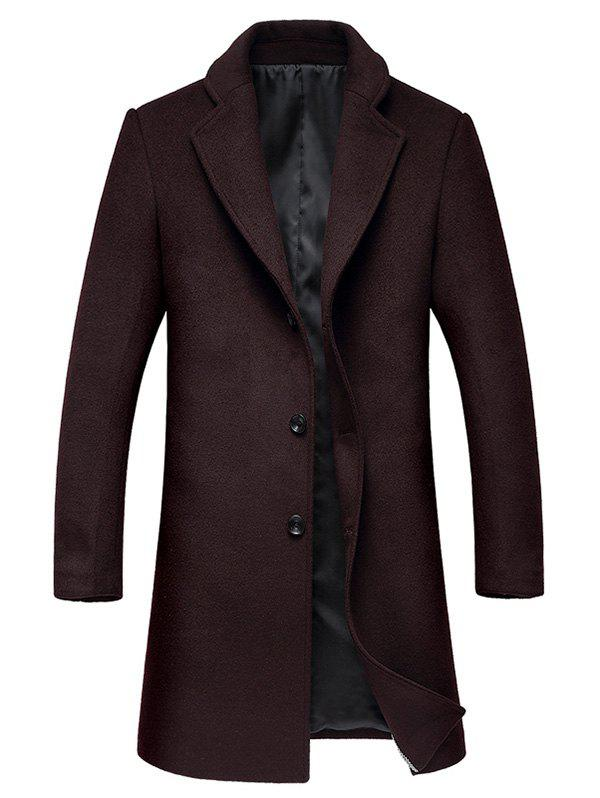 Lapel Collar Single Breasted Wool Mix Coat - WINE RED XL
