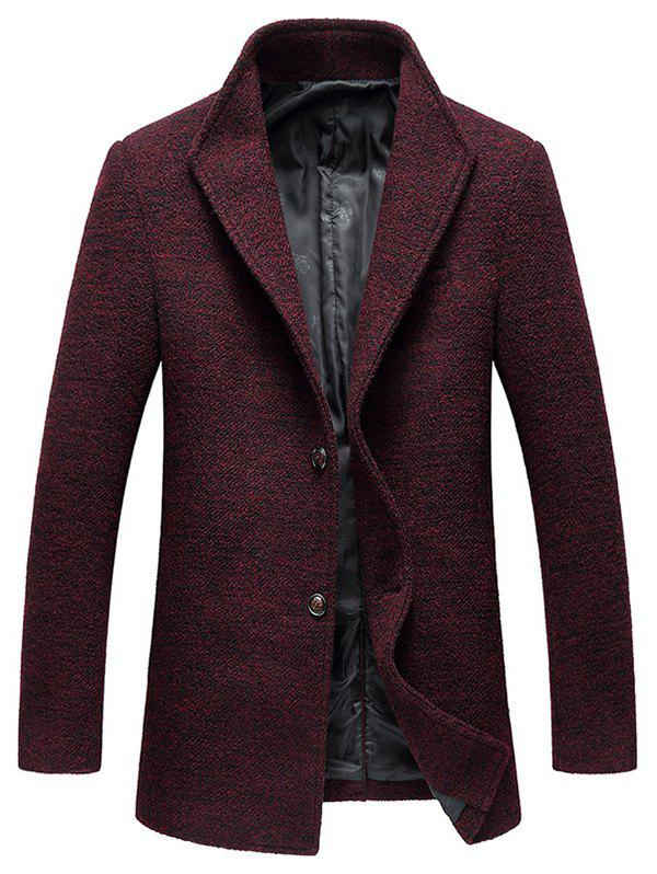 Wood Blend Single Breasted Tweed Coat - WINE RED 3XL