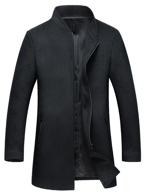 Stand Collar Zipper Up Wool Blend Coat - BLACK 3XL
