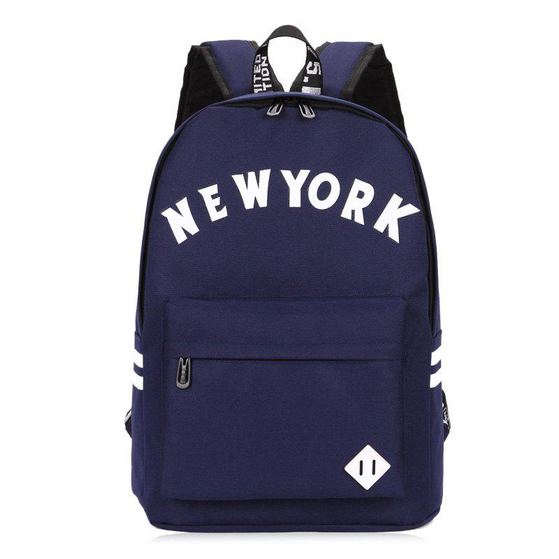 Print Striped Letter Backpack - DEEP BLUE