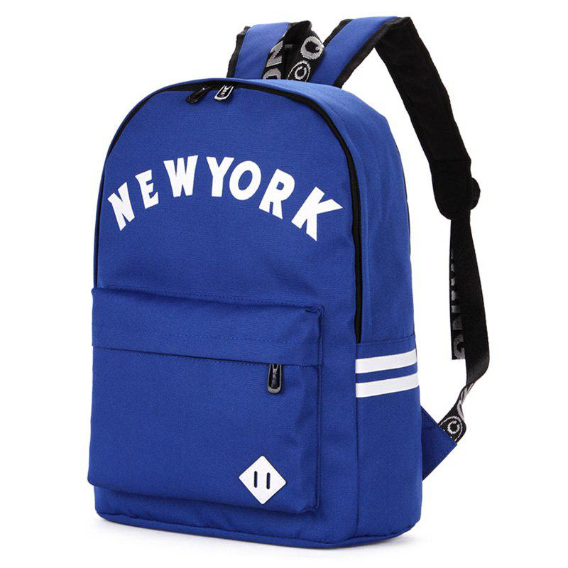 Print Striped Letter Backpack - BLUE