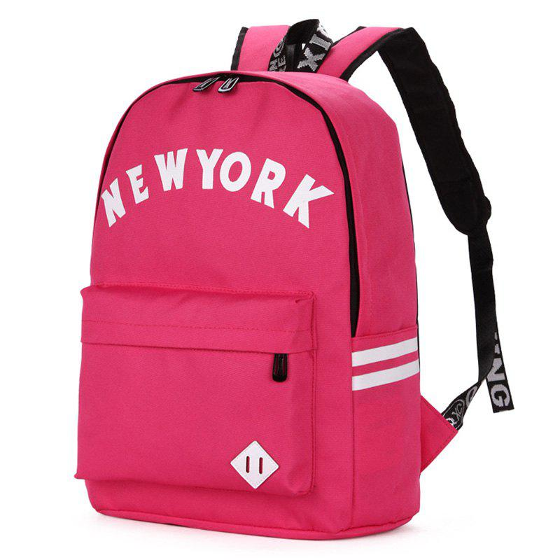 Print Striped Letter Backpack - ROSE RED