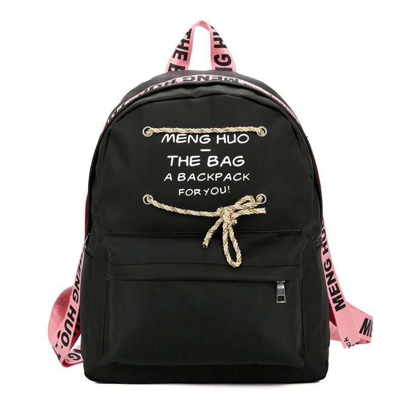 Letter Print String Backpack - ROSE PÂLE