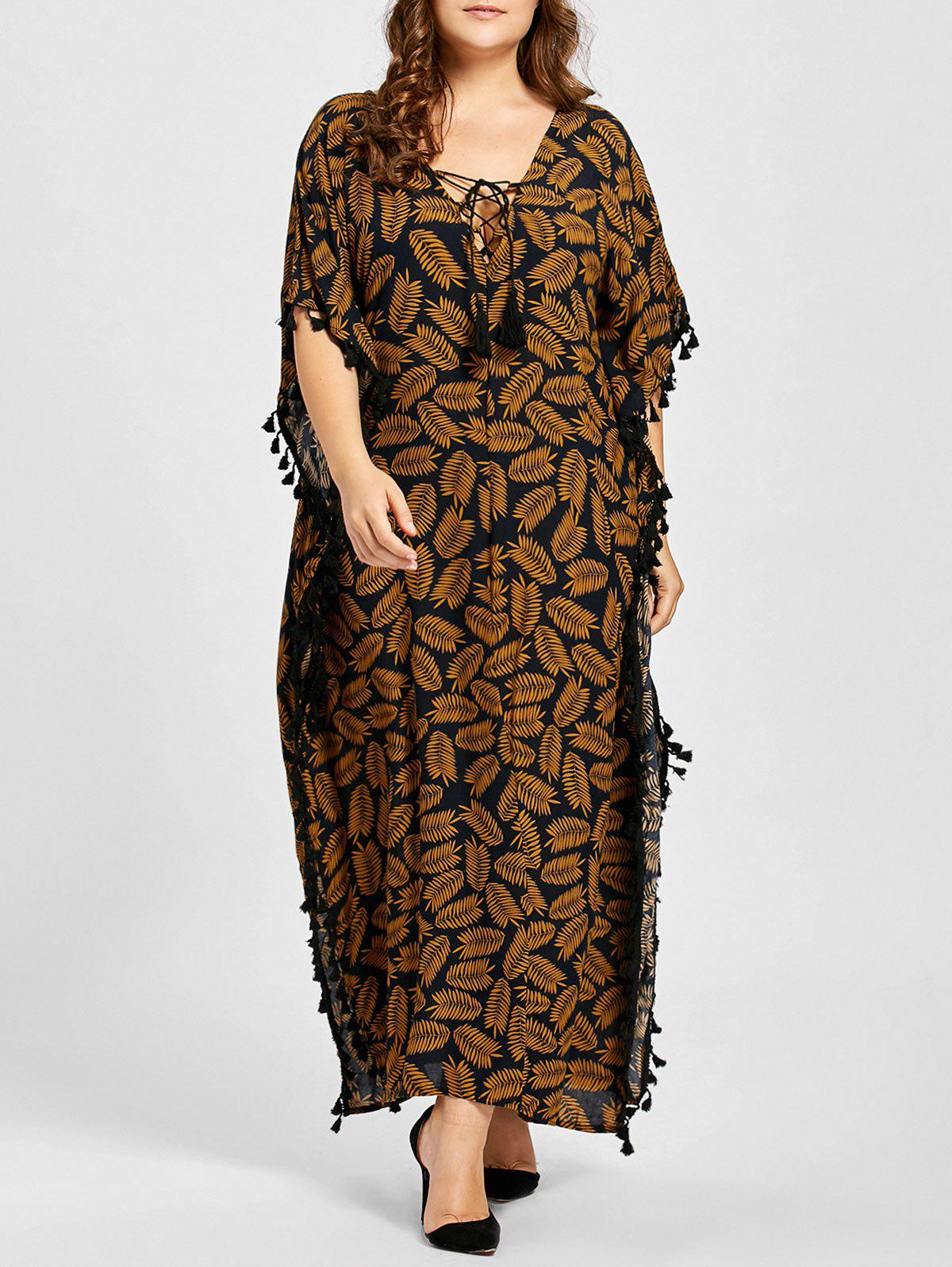 Plus Size Lace Up Tassel Leaf Print Poncho Dress leaf print tassel table runner
