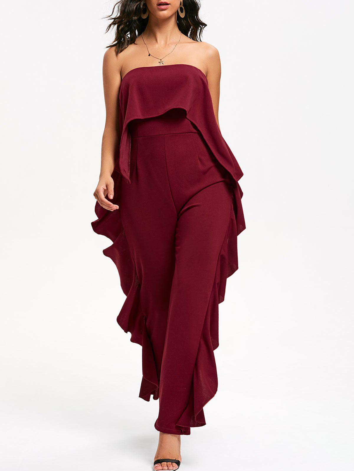 Ruffle Trimmed Bandeau Jumpsuit - WINE RED S