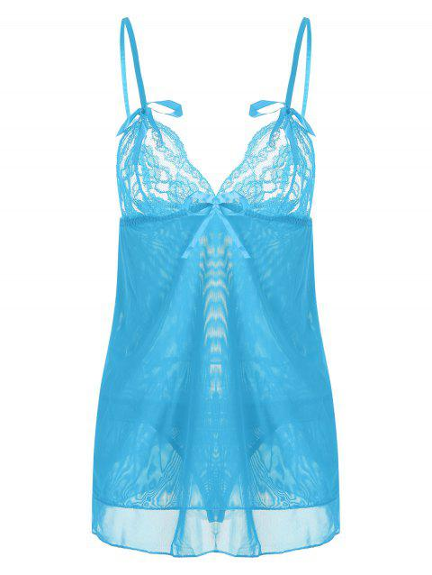 Tier Mesh Lace Slip Babydoll - CLOUDY ONE SIZE