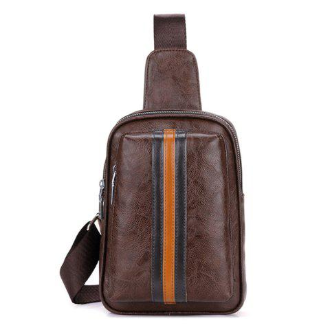 PU Leather Color Block Chest Bag - BROWN