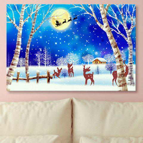 Wall Art Christmas Snowscape Print Canvas Painting - BLUE 1PC:24*39 INCH( NO FRAME )