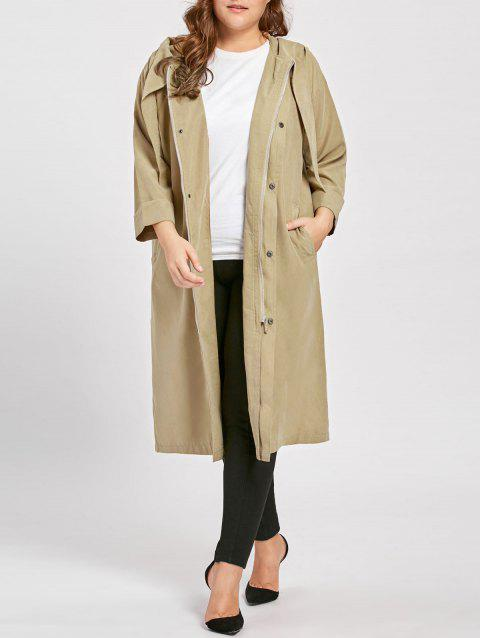 Plus Size Faux Sueded Longline Hooded Coat - APRICOT 3XL