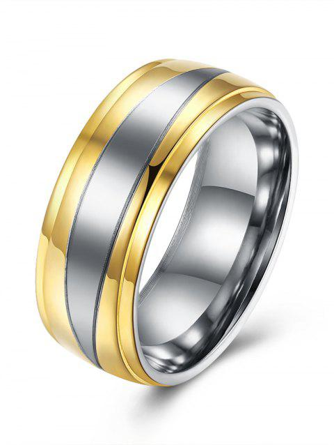 Two Tone Round Finger Ring - GOLDEN 9