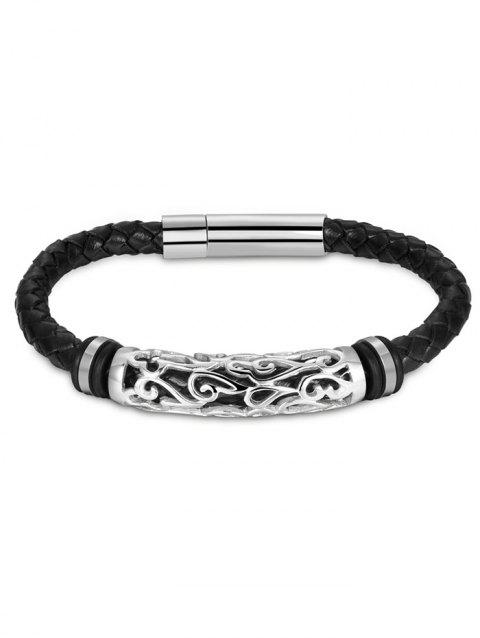 Hollow Out Carve Alloy Faux Leather Weaving Bracelet - SILVER
