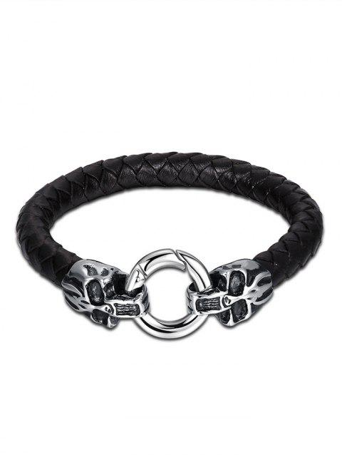 Faux Leather Halloween Skull Circle Braid Bracelet - Noir
