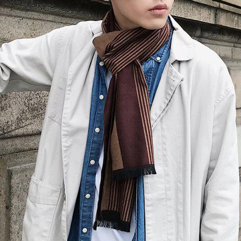 Vertical Striped Pattern Fringed Scarf - BROWN