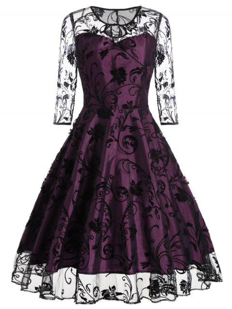 Keyhole Sheer Sleeve Lace Vintage Dress - PURPLISH RED L