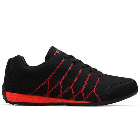 Zig Zag Embroidered Colorblock Suede Sneakers - BLACK RED 45