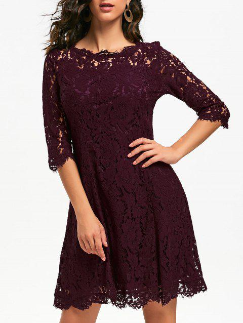 Lace Mini Party Evening Dress - WINE RED S