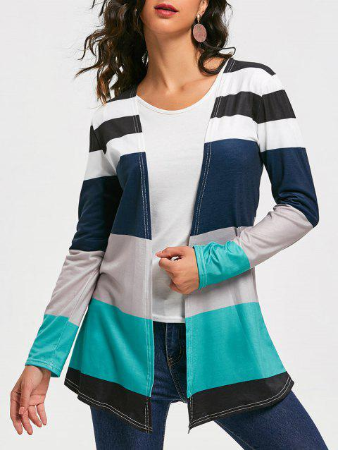 Casual Style Long Sleeve Collarless Colorful Stripe Women's Cardigan - COLORMIX L