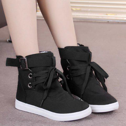 Lace-up Casual Canvas Ankle Boots - BLACK 39