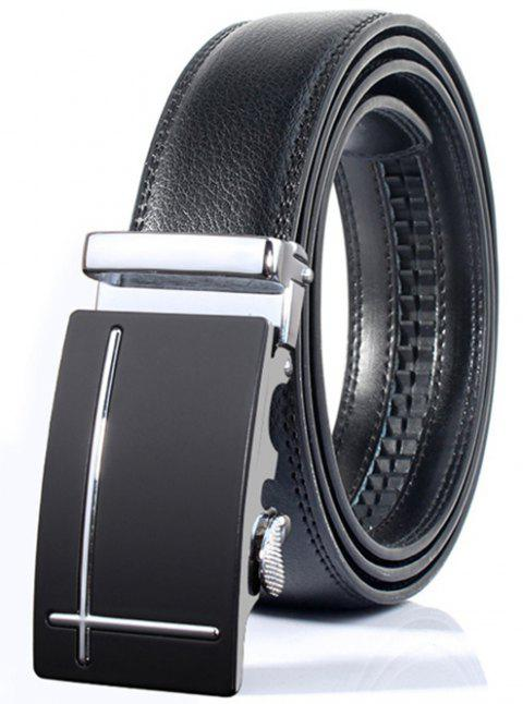 Perpendicular Line Polished Automatic Buckle Wide Belt - SILVER