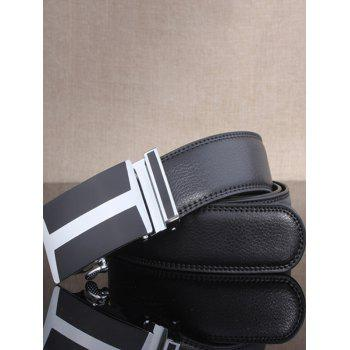 H Shape Simple Automatic Buckle Wide Belt - BLACK