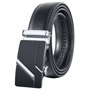 Paralleled Line Simple Automatic Buckle Wide Belt -  SILVER