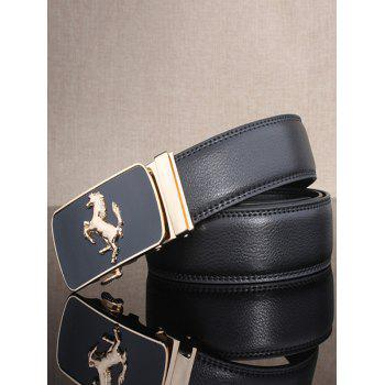 Stylish Emboss Horse Shape Automatic Buckle Wide Belt -  BLACK