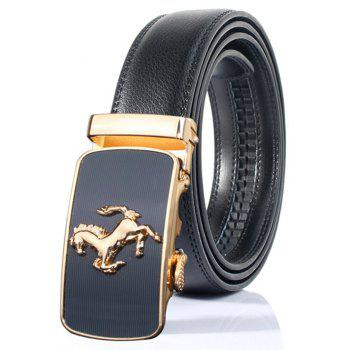 Stylish Emboss Horse Shape Automatic Buckle Wide Belt - BLACK BLACK