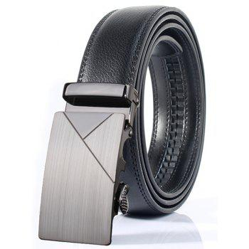 Automatic Buckle Polished Geometric Wide Belt - FROST FROST