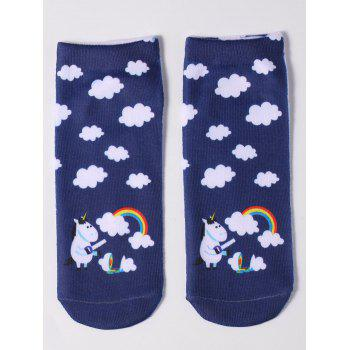 Cartoon Unicorn Pattern Ankle Socks - DEEP BLUE DEEP BLUE